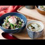 【豚ひき肉とニラのスタミナ丼と梅わかめスープ定食】レンジで完結♪簡単献立レシピ!