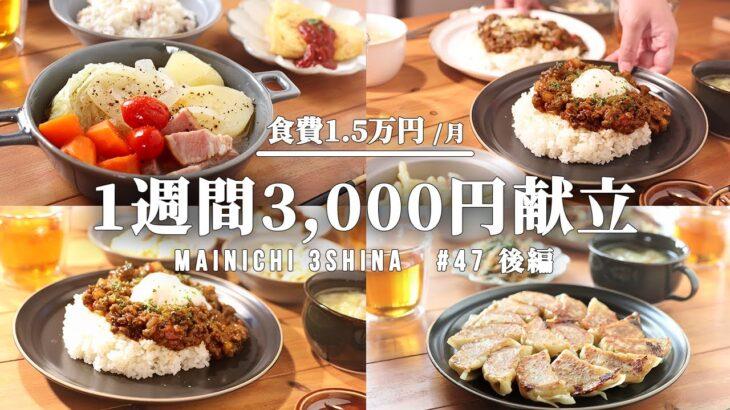 【5日間の献立】たった3000円で1週間晩ごはん【#47 後編】